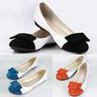 Womens Ladies Bow Dolly Flat Slip Shoes Ballerina Pumps Flats