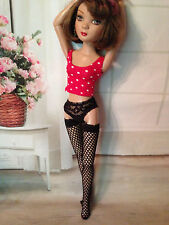 "Black Fishnet stockings nylons hose for Ellowyne, Tyler, other 16"" fashion dolls"