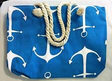 FASHION TOTE HOBO SHOPPING HAND BAG OCEAN BLUE W/ANCHORS ROPE HANDLES ZIPPER NIP