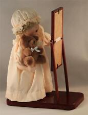 Porcelain Doll Full Length Mirror Wood Base Glass Eyes Vintage