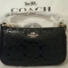 COACH F56518  Black Oxblood. Top Handle Pouch Debossed Patent Leather  NWT
