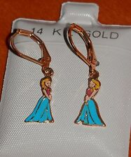 14K Gold Filled FROZEN Princess Elsa Anna hanging Earrings / Teenager Children