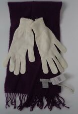 Tie Rack lambswool purple scarf and cream one size gloves
