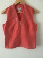 Ann Taylor Loft Top Sleeveless Blouse Embroidered Size 4 UK 8 Coral  R1163