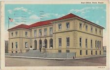Texas Tx Postcard 1942 PARIS Post Office Building United States