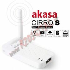 MEDIA SERVER WIFI AKASA CIRRO S HARD DISK TABLET UPNP STORAGE SHARER ROUTER USB