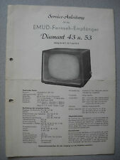 EMUD Diamant 43 T, 53 T, 53 S Service Manual Stand 08/58