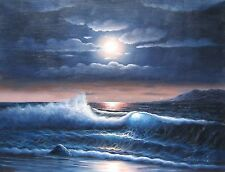 "Under moonlight seashore 36x48"" HIGH QUALITY HUGE OIL PAINTING 4' WIDE w/o frame"