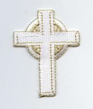 Iron On Embroidered Applique Patch Religious White and Gold Celtic Cross