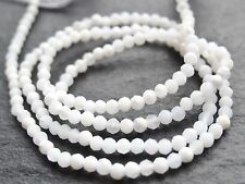 "TINY 2.2mm MICRO FACETED WHITE MOTHER OF PEARL RONDELLES, 13"", 170 beads"