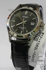 MTP-1380L-1A Black Casio Men's Watches Analog Genuine Leather Band New