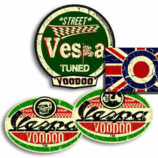 VESPA  STICKERS, SELF ADHESIVE + FREE ROUNDEL UNION JACK STICKER!