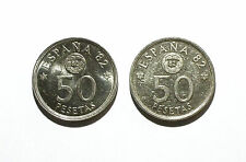 Spain 50 Pesetas Coins from 1980 & 1981 - Commerative of 1982 FIFA World Cup