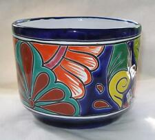 "Colorful Mexican Talavera Clay Planter Flower Pot 5.25"" Tall  6.5"" Diameter P1"