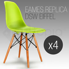 4 x Retro Replica Eames Dining Chairs Eiffel DSW Cafe Kitchen Beech Chair Green