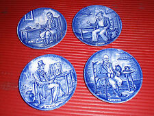 FOUR VINTAGE ENOCH WEDGEWOOD PORCELAIN PLATES BLUE AND WHITE 4 INCHES