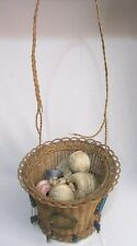 ANTIQUE WOVEN WICKER REED ROUND HANGING SEWING BASKET~GLASS BEAD TASSELS~VINTAGE