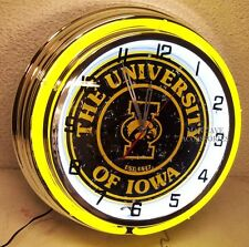 "18"" University of IOWA Hawkeyes Sign Double Neon Clock"