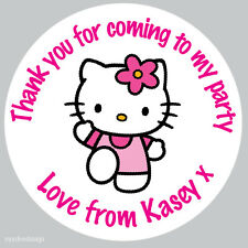 Personalised Hello Kitty 37mm Stickers Birthday Party Thank You Seals -N34