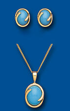 "9k Gold Real Turquoise Oval Earrings and Pendant Set With 18"" Chain - Hallmarked"