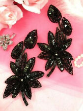 XR51 Black Floral Mirror Pair Sequin Beaded Appliques