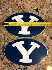Pair BRIGHAM YOUNG BYU COUGARS Football Helmet DECALS Bumper STICKERS!
