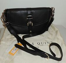 NEW BAILEY & QUINN 'The Weekend' BLACK LEATHER X-BODY BAG - RRP £79 - Compact SZ