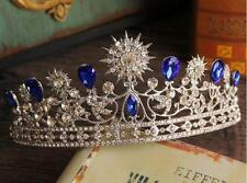 Blue Sapphire Wedding Tiara Crown Rhinestones Crystal Brides Pageant Prom Party