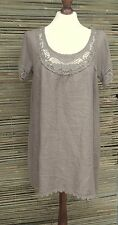 LAGENLOOK LINEN LAYERING LACE SOFT LONG TUNIC-DRESS *TAUPE*SIZE  S/M BUST 38""