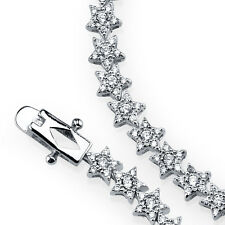925 Sterling Silver Stars Shape Simulated Diamond Tennis Bracelet Gift For Her