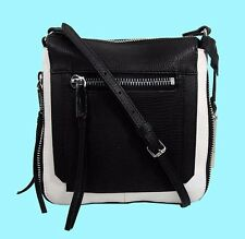 VINCE CAMUTO 'RHONE' Black/White Tone Leather Crossbody Bag Msrp $158.00