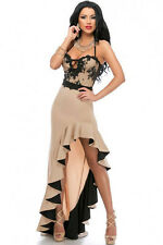 Beautiful Nude & Black Sexy Gypsy Flamenco Evening Cocktail Dress Ruffled Hem M