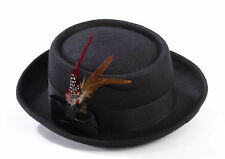 Black Pork Pie Hat w/ Feather Heisenberg Walter White Hat Adult Size
