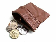 MENS LADIES QUALITY GENUINE TAN LEATHER COIN CHANGE POUCH PURSE CHANGE WALLET