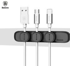 Baseus Magnetic USB Cable Organizer Wire Holder Desk Tidy iPhone Samsung UK