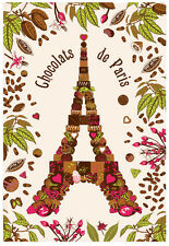 Torchons & Bouchons EIFFEL TOWER PARIS Heart French CHOCOLATE Tea Kitchen Towel