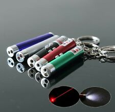 1 Red Laser Pointer Beam Light Lazer and LED Flashlight keychain