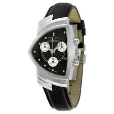 Hamilton Ventura Chrono Black Dial  Black Strap Mens Watch H24412732