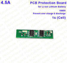 4.5A 3.7v 1s Li-ion Lithium 18650 Battery 4.2v Over Charge Protection Board PCB