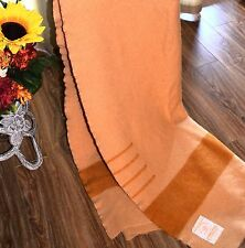 VTG HUDSON BAY  GREAT 4 POINT BLANKET - SALMON COLOR  with TAN ,100% WOOL