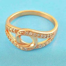 fashion jewelry Womens crystal ring Rose Gold Filled CZ Ring Size 6