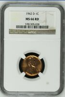 1962 D Lincoln Cent NGC MS 66 RD