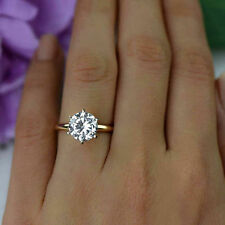 2.0 CTW Ring Diamond Solitaire Engagement Round Cut 14k Yellow Real Solid Gold