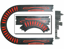 """4pc TYCO HO Slot Car 15"""" Straight Red Ink SqUeEzE +1/4 9"""" Curve Tracks Unused"""