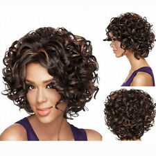 Women Dark Brown Curly Short Full Lace Hair Wigs Brazilian Body Wave Frontal Wig