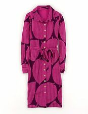 BNWT Boden Carnaby Jersey Shirt Dress UK 12 R  ( US 8 ) Purple  Large Leaf