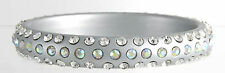 SILVER LUCITE PLASTIC AB CLEAR RHINESTONE ENCRUSTED BANGLE BRACELET USA-GiftBox