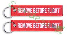 QTY= 2 PIECE RED/White REMOVE BEFORE FLIGHT FABRIC KEY CHAIN AVIATION TAGS