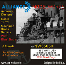 Alliance NW 35050 1/350 USN 5 '' 38 caliber Mk 28 Twin Ring Mount w/ Blast Bag