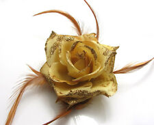 1X Rose Flower Feather Prom Wrist Corsage Hair Clip Fascinator Pin Brooch Khaki